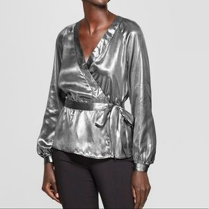✅New women's metallic wrap Blouse Silver Small✅